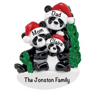 Panda Family of 3 Personalized Christmas Ornament