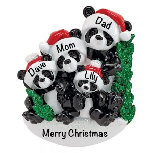 Panda Family of 4 Personalized Christmas Ornament