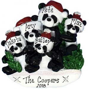 Panda Family of 5 Personalized Ornament