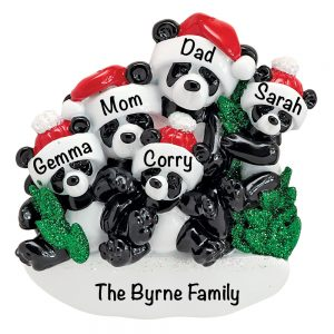Panda Family of 5 Personalized Christmas Ornament