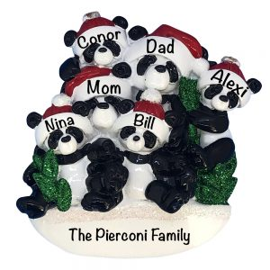 1207-6 Panda Family of 6 Personalized Christmas Ornament