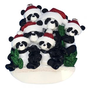 Panda Family of 6 Personalized Christmas Ornament - Blank