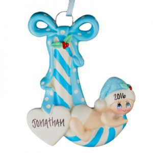 Baby Boy Candy Cane Personalized Ornament