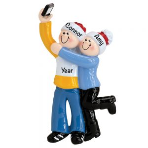 Selfie Couple Personalized Christmas Ornament