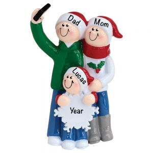 1603-3 Selfie Family of 3 Personalized Christmas Ornament