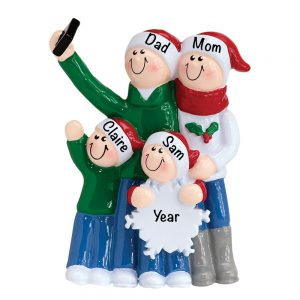Selfie Family of 4 Personalized Christmas Ornament