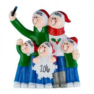 Selfie Family of 5 Christmas Ornament