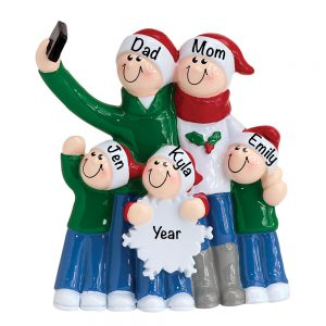 Selfie Family of 5 Personalized Christmas Ornament