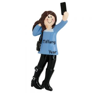 Selfie Girl Personalized Christmas Ornament