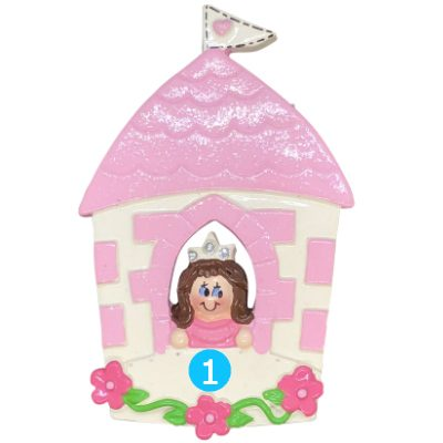 Princess Castle Girl - Brown Hair Personalized Ornament