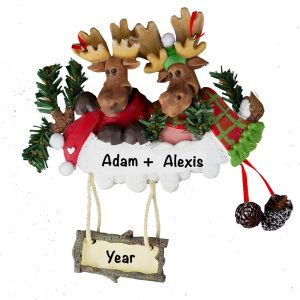 Moose Couple Personalized Christmas Ornament