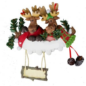 Moose Couple Personalized Christmas Ornament - Blank