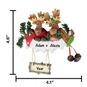 Moose Family of 2 Personalized Christmas Ornament