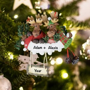 Personalized Moose Couple Christmas Ornament