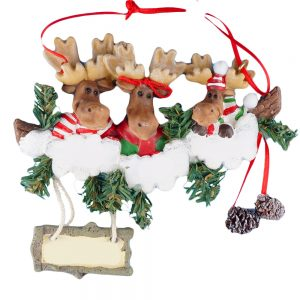 Moose Family of 3 Personalized Christmas Ornament - Blank