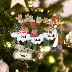 Personalized Moose Family of 3 Christmas Ornament