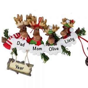 Moose Family of 4 Personalized Christmas Ornament