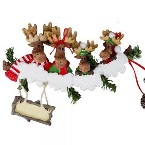 Moose Family of 4 Personalized Christmas Ornament - Blank