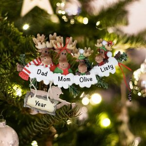 Personalized Moose Family of 4 Christmas Ornament