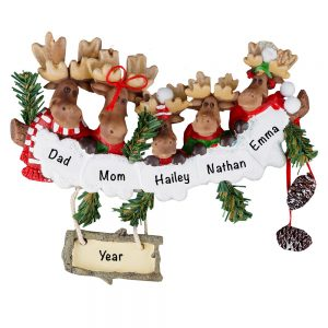 Moose Family of 5 Personalized Christmas Ornament