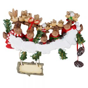 Moose Family of 5 Personalized Christmas Ornament - Blank