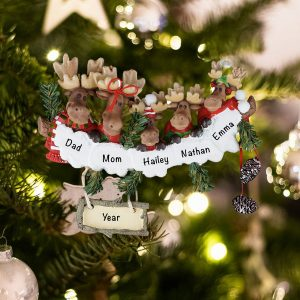 Personalized Moose Family of 5 Christmas Ornament
