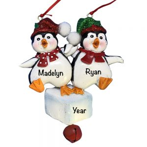 Penguin Dancing On Ice Couple Personalized Christmas Ornament