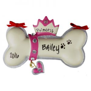 Princess Dog Bone Christmas Ornament