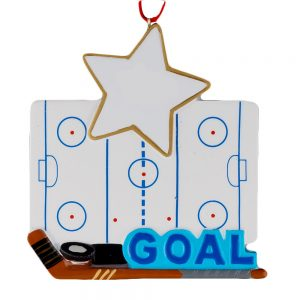Ice Hockey Rink Personalized Christmas Ornament - Blank