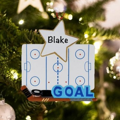 Personalized Ice Hockey Rink Christmas Ornament