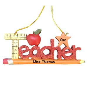 eacher Pencil Personalized Christmas Ornament