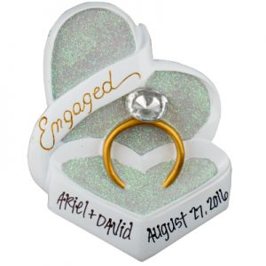 Engaged Heart Box Ring Personalized Ornament