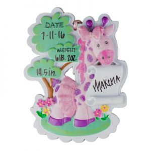 Baby Giraffe Girl Personalized Christmas Ornament