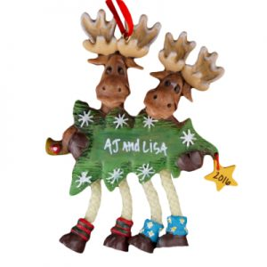 Dangling Moose Family of 2 with Tree Personalized Christmas Ornament