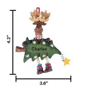 Dangling Moose with Tree Personalized Christmas Ornament