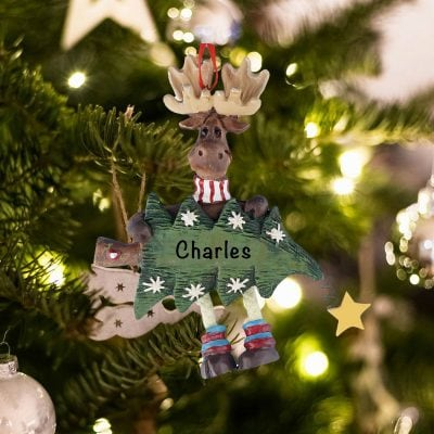 Personalized Moose Christmas Tree Christmas Ornament