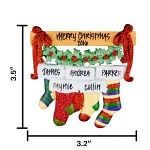 Holiday Stocking Family of 5 Personalized Christmas Ornament