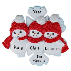 Snowman Snowflake Family of 3 Personalized Christmas Ornament