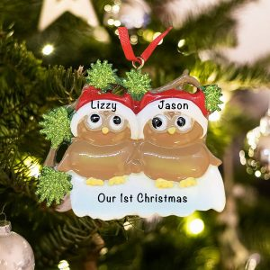 Personalized Brown Owl Couple Christmas Ornament