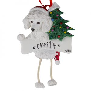 Poodle (White) Christmas Ornament