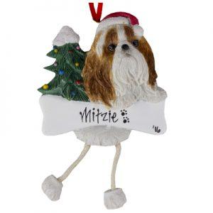 Shih Tzu (Tan & White) Christmas Ornament