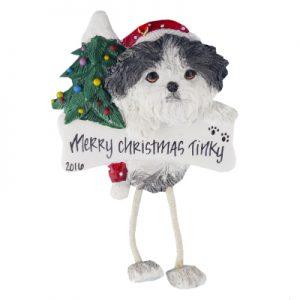 Shih Tzu (Black & White Puppy Cut) Christmas Ornament