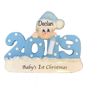 Baby's 1st Christmas 2019 - Blue Personalized Ornament
