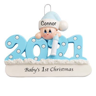 Baby's First Christmas Ornament Personalized Blue Boy
