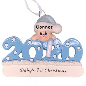 Blue 2020 Baby's First Christmas Personalized Ornament
