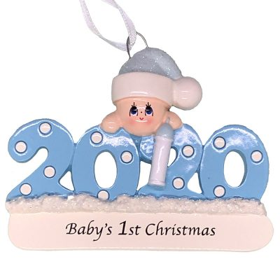 Blue 2020 Baby's First Christmas Personalized Ornament blank