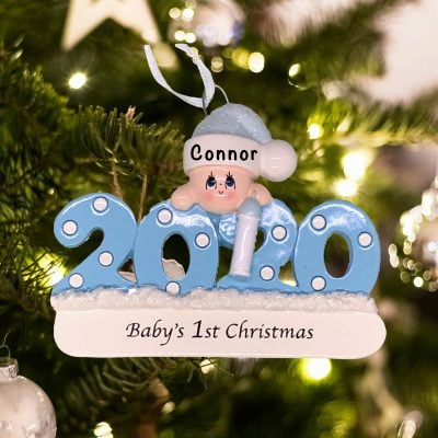 Personalized Blue Babys First Christmas 2020 Christmas Ornament