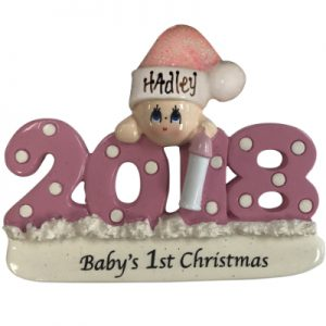 Baby's 1st Christmas 2018 - Pink Personalized Ornament