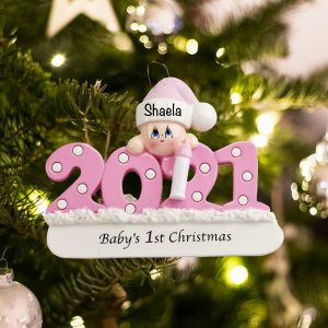 Baby's 1st Christmas Personalized Christmas Ornament Pink Girl