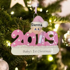 Personalized Babys First Christmas Pink 2019 Christmas Ornament